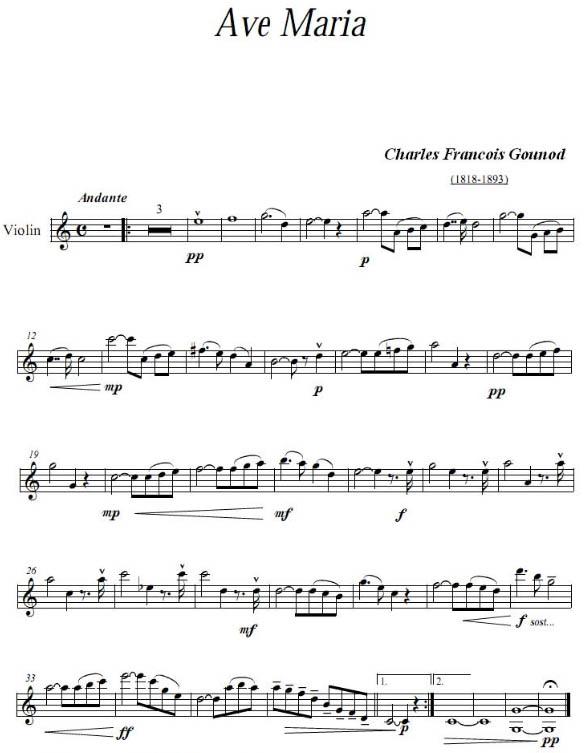 《圣母颂》小提琴谱