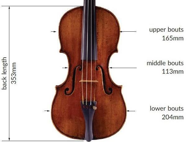 耶稣·瓜奈里1744 年 'de Bériot' 小提琴 'de Bériot' 小提琴尺寸结构图