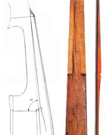 """图5在""""Medici""""男高音中提琴的指板下放置了一个楔子    'Trechmann'Guadagnini小提琴的指板"""