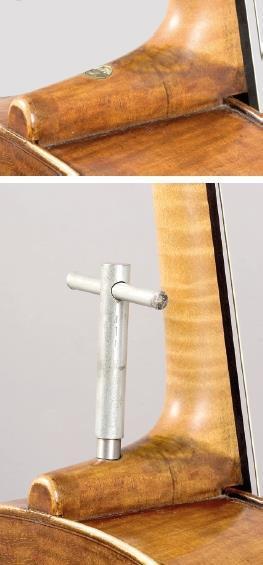 图7来自Stradivari作坊的Bass viola da gamba,约1735年,Jos.Wagner于1831年改装成带可调节琴颈的大提琴。请注意琴颈嵌入肋骨而非顶部