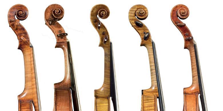照片:南达科他大学国家音乐博物馆。Amati、Guarneri、Storioni、Stradivari:Bill Willroth Sr.Stainer:Byron枕头    1613年Girolamo Amati小提琴短笛的对面(左右);1664 Andrea Guarneri中提琴;1668年雅各布·斯坦纳小提琴;1693'Harrison'斯特拉迪瓦里小提琴;1793洛伦佐·斯托里奥尼小提琴